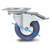 Ruota girevole con freno, Ø 125mm, gomma elastica, 150KG