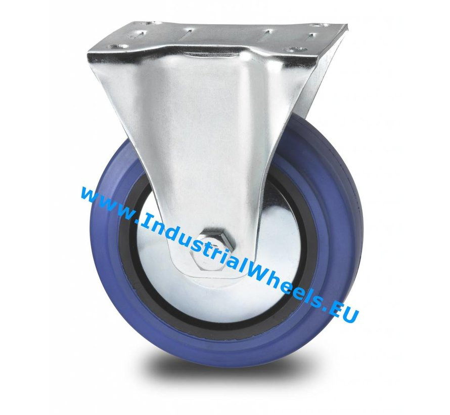Carrelli per Movimentazione Industriale Ruota fissa  lamiera stampata, attacco a piastra, gomma elastica, mozzo su cuscinetto a rulli, Ruota -Ø 125mm, 150KG