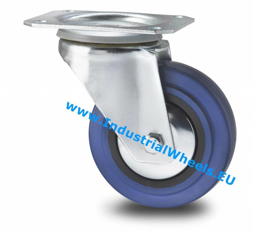 Industrial Swivel caster from pressed steel, plate fitting, elastic-tyre, roller bearing, Wheel-Ø 125mm, 150KG