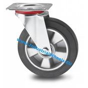 Drejeligt hjul, Ø 200mm, Elastisk gummi, 400KG