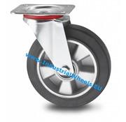 Roda giratória, Ø 200mm, goma vulcanizada, 400KG