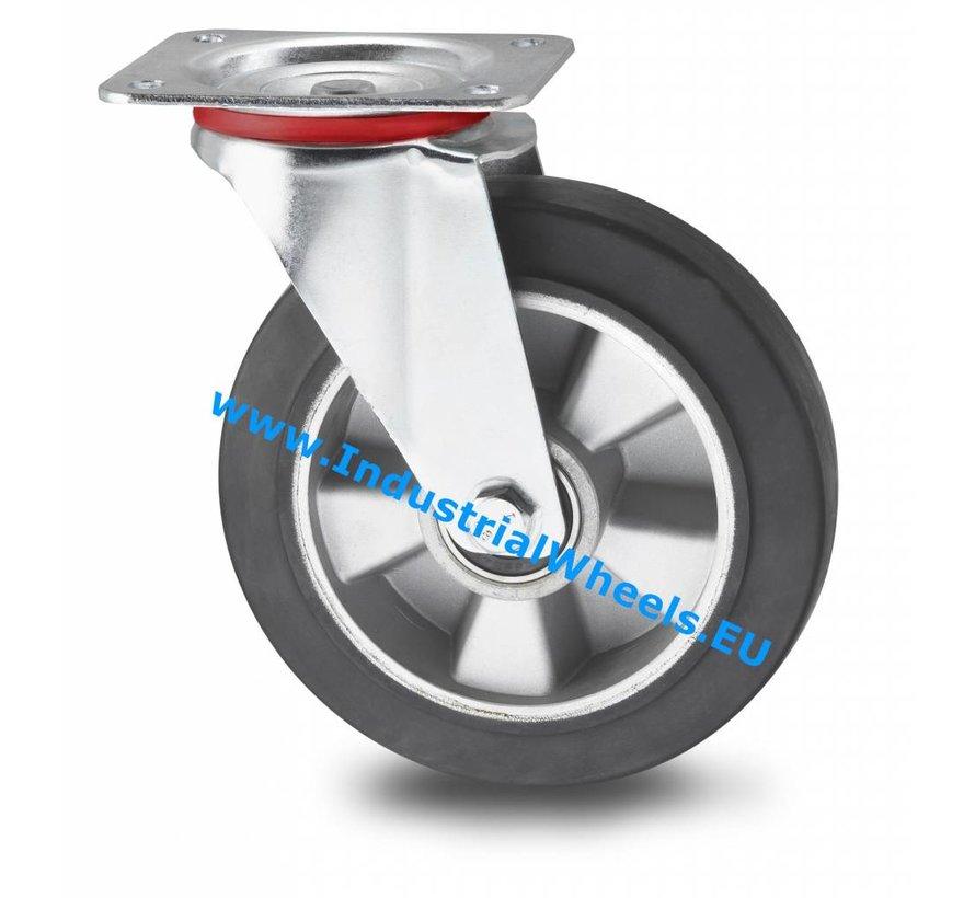 Ruedas para transporte industrial Rueda giratoria chapa de acero, pletina de fijación, goma elástica, cojinete de bolas de precisión, Rueda-Ø 200mm, 400KG