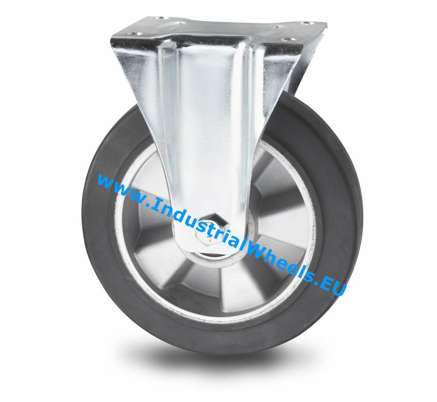 Industrial Fixed castor from pressed steel, plate fitting, elastic-tyre, precision ball bearing, Wheel-Ø 200mm, 400KG