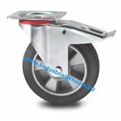 Swivel caster with brake, Ø 200mm, elastic-tyre, 400KG