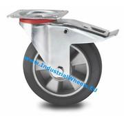 Roda giratória travão, Ø 200mm, goma vulcanizada, 400KG