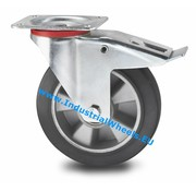Swivel caster with brake, Ø 200mm, elastic-tyre, 400KG
