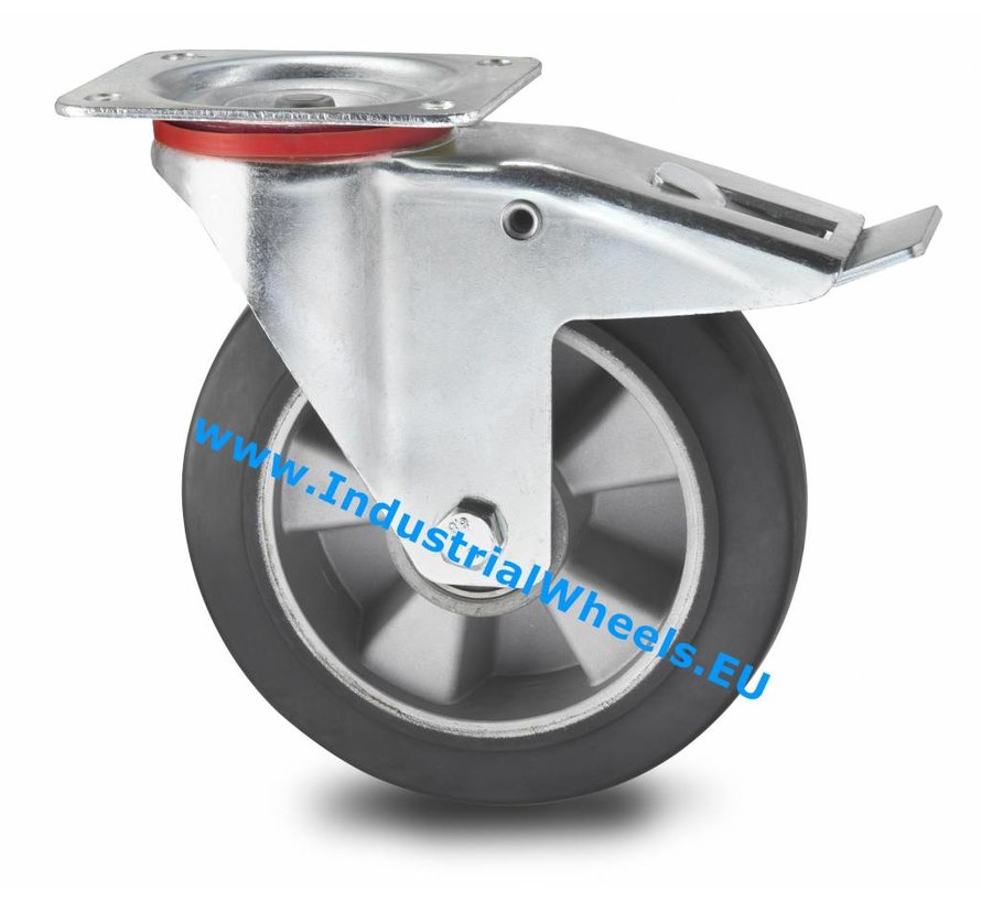 Industrial Swivel caster with brake from pressed steel, plate fitting, elastic-tyre, precision ball bearing, Wheel-Ø 200mm, 400KG