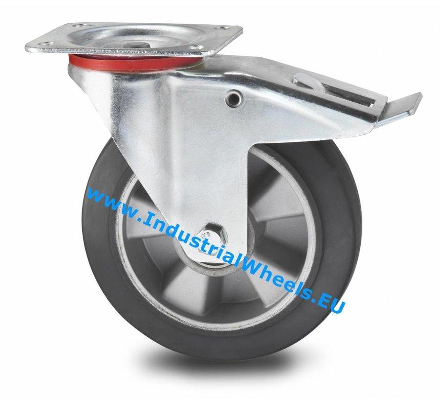 Ruedas para transporte industrial Rueda giratoria con freno chapa de acero, pletina de fijación, goma elástica, cojinete de bolas de precisión, Rueda-Ø 160mm, 300KG