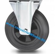 Fixed caster, Ø 125mm, rubber, black, 100KG