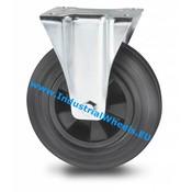 Fast hjul, Ø 200mm, Massiv sort gummi, 200KG