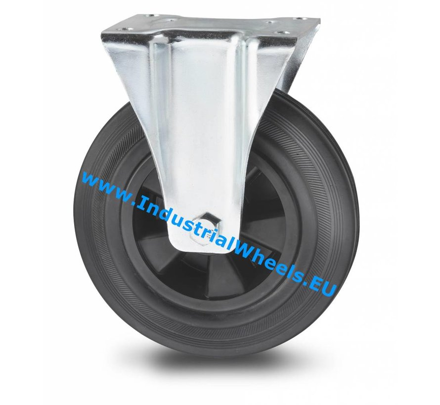 Industrial Fixed castor from pressed steel, plate fitting, rubber, black, roller bearing, Wheel-Ø 200mm, 200KG