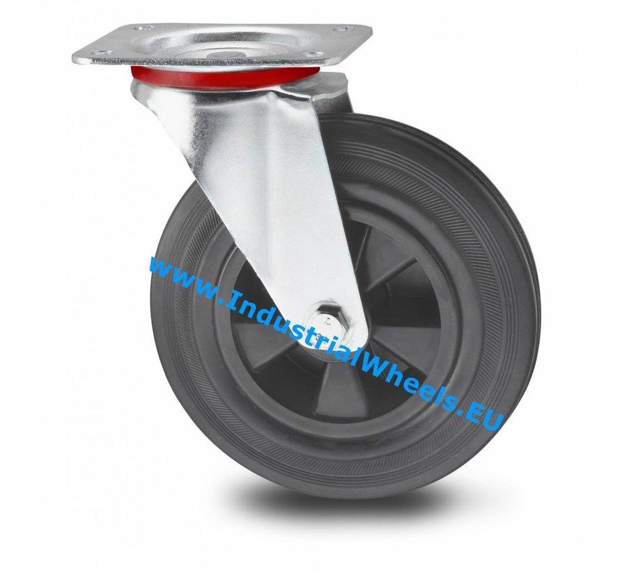Carrelli per Movimentazione Industriale Ruota girevole  lamiera stampata, attacco a piastra, gomma nera, mozzo su cuscinetto a rulli, Ruota -Ø 160mm, 180KG