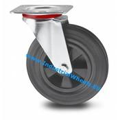 Drejeligt hjul, Ø 200mm, Massiv sort gummi, 200KG