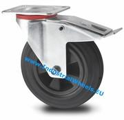 Roulette pivotante avec blocage, Ø 80mm, caoutchouc semi-élastique noir, 65KG