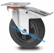 Swivel caster with brake, Ø 125mm, rubber, black, 100KG