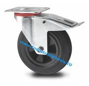 Roda giratória travão, Ø 125mm, goma negra, 100KG