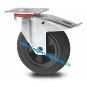 Swivel caster with brake, Ø 160mm, rubber, black, 180KG