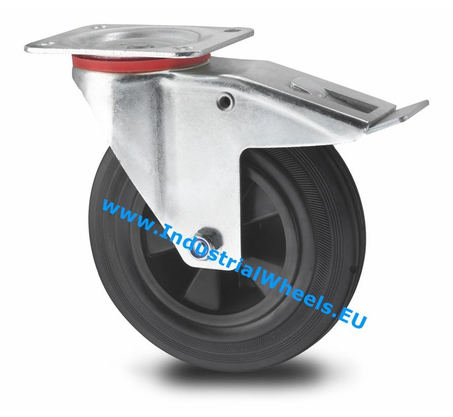 Industrial Swivel caster with brake from pressed steel, plate fitting, rubber, black, roller bearing, Wheel-Ø 200mm, 200KG
