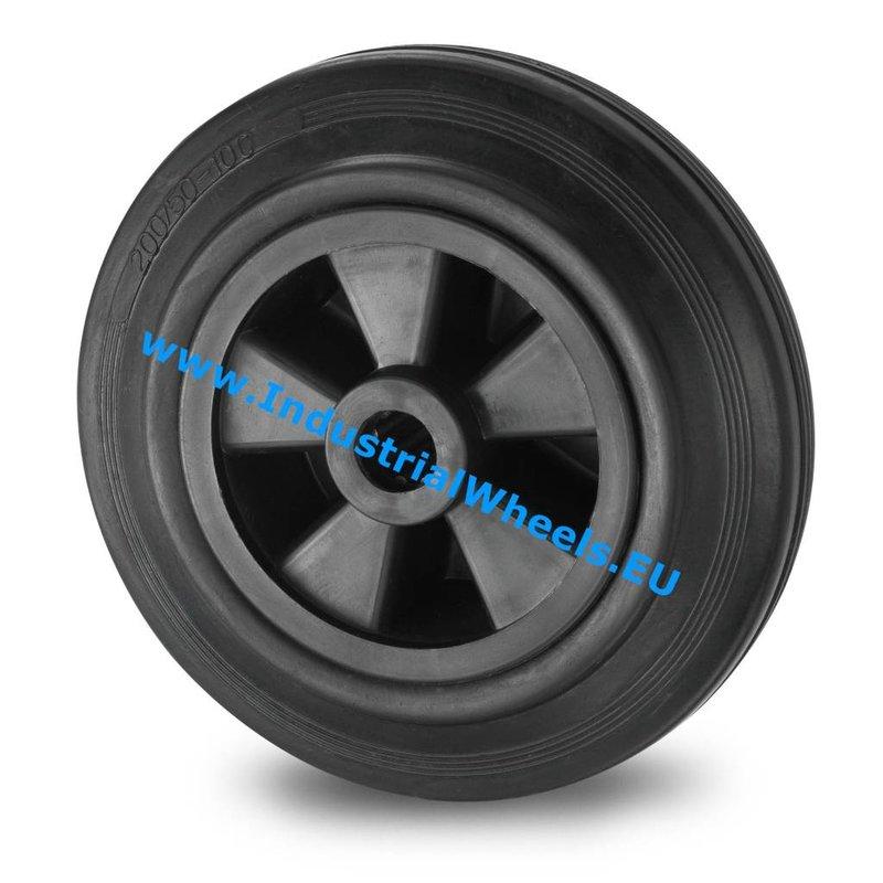 Hjul, Ø 125mm, Massiv sort gummi, 130KG