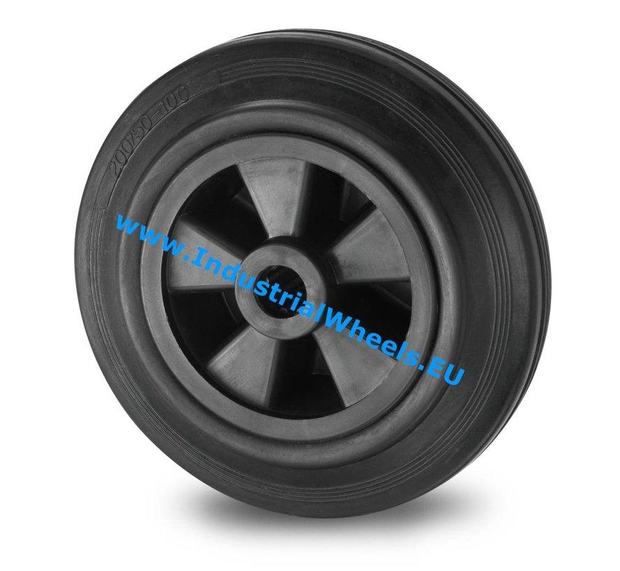 Ruedas para transporte industrial Rueda goma negra, cojinete de rodillos, Rueda-Ø 200mm, 230KG