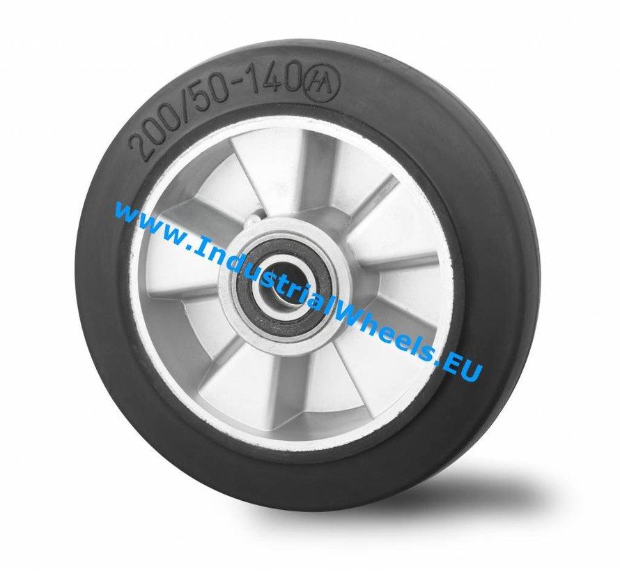 Industrial Wheel from elastic-tyre, precision ball bearing, Wheel-Ø 200mm, 400KG