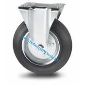 Fast hjul, Ø 125mm, Massiv sort gummi, 100KG
