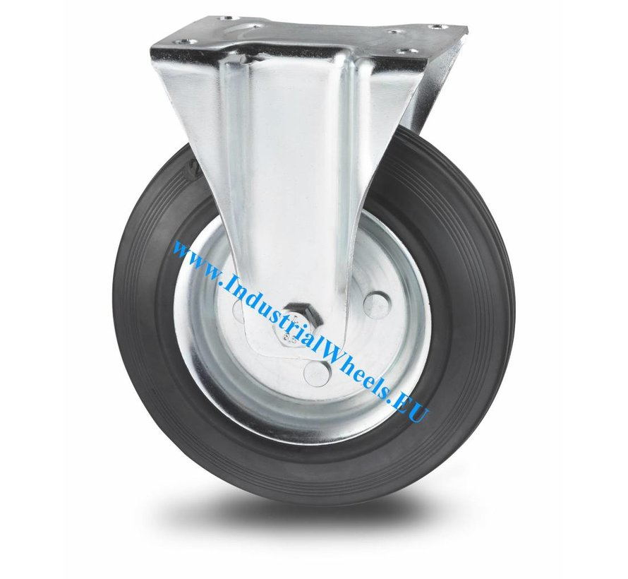 Industrial Fixed caster from pressed steel, plate fitting, rubber, black, roller bearing, Wheel-Ø 200mm, 200KG