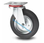 Drejeligt hjul, Ø 80mm, Massiv sort gummi, 65KG