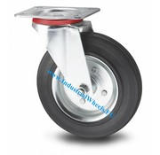 Roda giratória, Ø 80mm, goma negra, 65KG