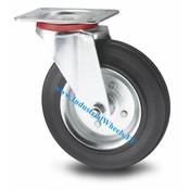 Drejeligt hjul, Ø 100mm, Massiv sort gummi, 80KG