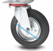 Swivel caster, Ø 200mm, rubber, black, 200KG