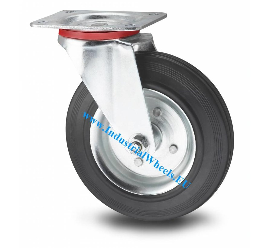 Industrial Swivel caster from pressed steel, plate fitting, rubber, black, roller bearing, Wheel-Ø 200mm, 200KG