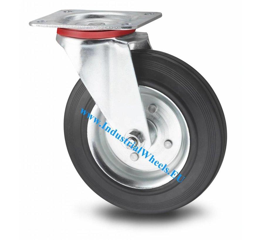 Ruedas para transporte industrial Rueda giratoria chapa de acero, pletina de fijación, goma negra, cojinete de rodillos, Rueda-Ø 200mm, 200KG