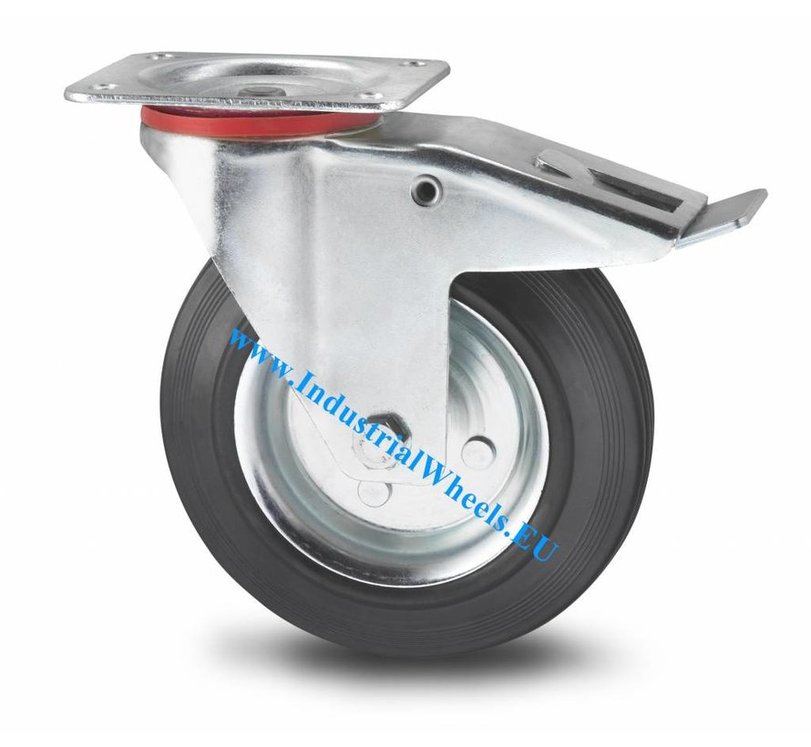 Industrial Swivel caster with brake from pressed steel, plate fitting, rubber, black, roller bearing, Wheel-Ø 100mm, 80KG