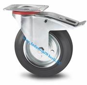 Roulette pivotante avec blocage, Ø 125mm, caoutchouc semi-élastique noir, 100KG