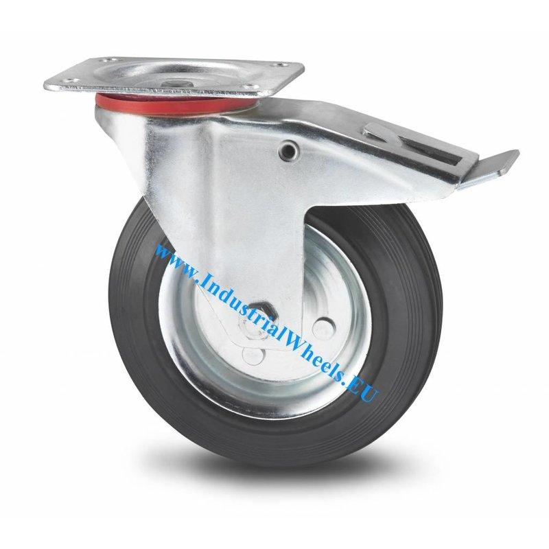 Drejeligt hjul bremse, Ø 125mm, Massiv sort gummi, 100KG