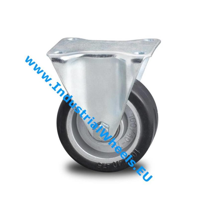 Industrial Reinforced Housing Fixed caster from Pressed hard steel, plate fitting, elastic-tyre, precision ball bearing, Wheel-Ø 100mm, 150KG