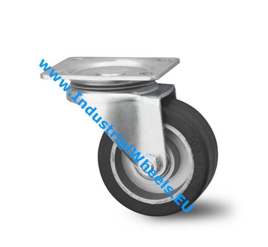 Industrial Reinforced Housing Swivel caster from Pressed hard steel, plate fitting, elastic-tyre, precision ball bearing, Wheel-Ø 100mm, 150KG