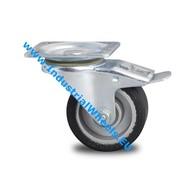Ruota girevole con freno, Ø 100mm, gomma elastica, 150KG