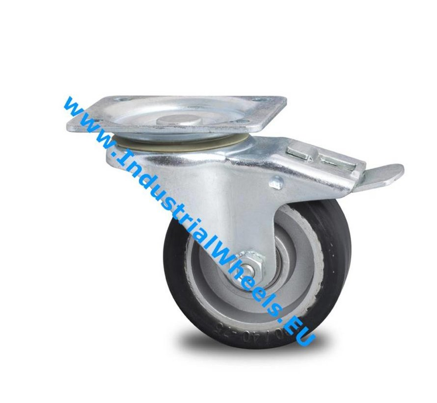 Industrial Reinforced Housing Swivel caster with brake from Pressed hard steel, plate fitting, elastic-tyre, precision ball bearing, Wheel-Ø 100mm, 150KG
