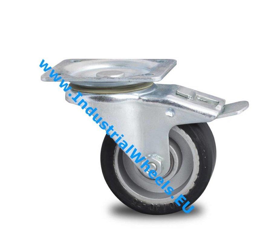 Transportgeräte Verstärkte Gehäuse Lenkrolle mit Feststeller aus schwerem Stahlblech, Plattenbefestigung, Elastikreifen, Präzisionskugellager, Rad-Ø 125mm, 200KG