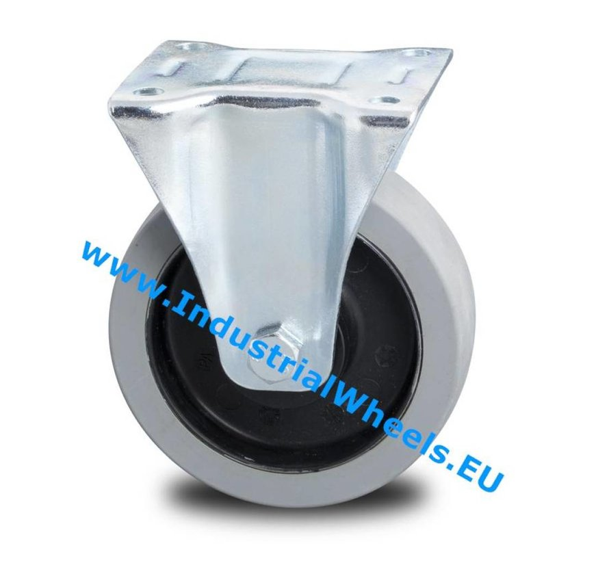 Industrial Fixed caster from pressed steel, plate fitting, elastic-tyre, 2-RS precision ball bearings, Wheel-Ø 100mm, 150KG