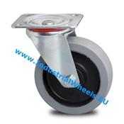 Drejeligt hjul, Ø 125mm, Elastisk gummi, 200KG