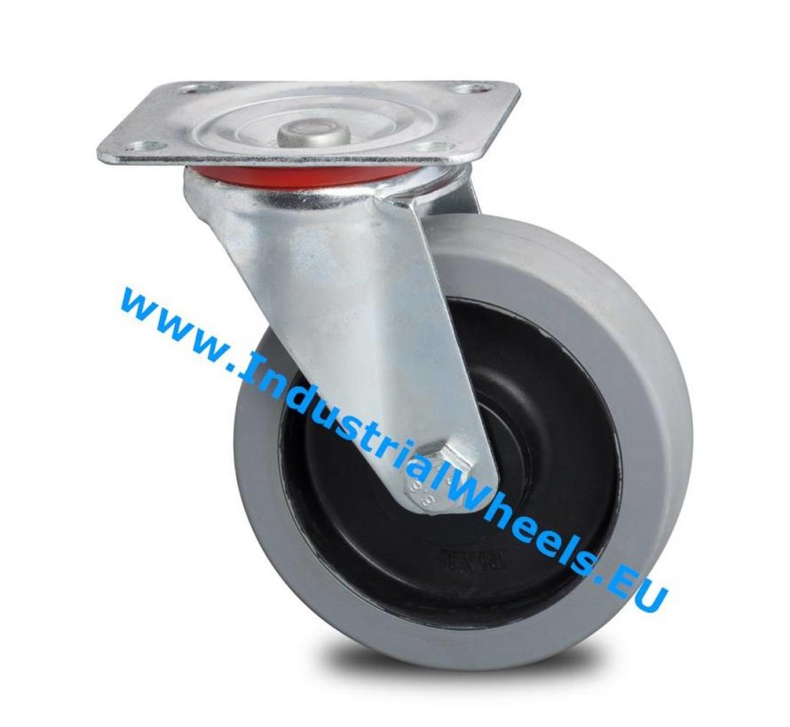 Industrial Swivel caster from pressed steel, plate fitting, elastic-tyre, 2-RS precision ball bearings, Wheel-Ø 125mm, 200KG