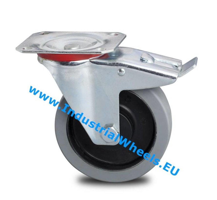 Industrial Swivel caster with brake from pressed steel, plate fitting, elastic-tyre, 2-RS precision ball bearings, Wheel-Ø 100mm, 150KG
