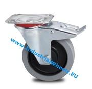 Roulette pivotante avec blocage, Ø 125mm, élastique, 200KG