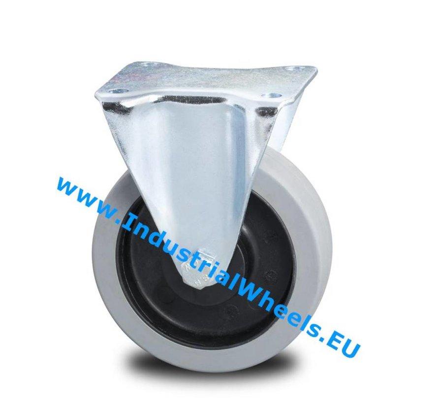 Roulettes industrielles renforcée Chape Roulette fixe de Pressé acier dur, Fixation à platine, élastique, roulements rouleaux, Roue-Ø 125mm, 200KG