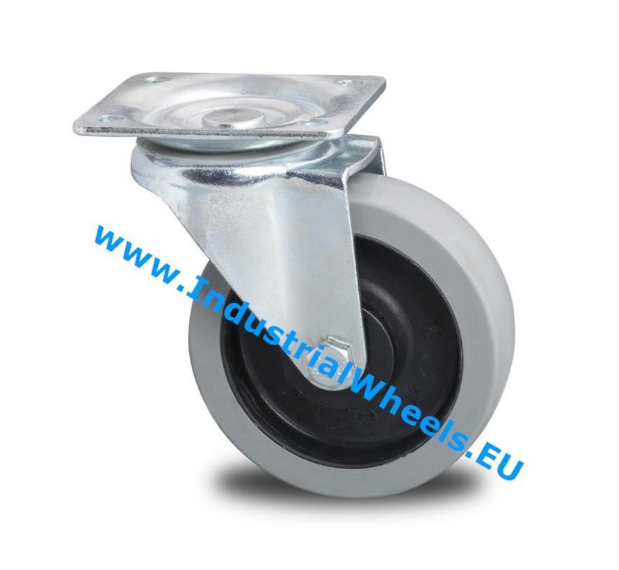 Industrial Reinforced Housing Swivel caster from Pressed hard steel, plate fitting, elastic-tyre, roller bearing, Wheel-Ø 100mm, 150KG