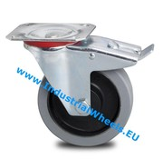 Swivel caster with brake, Ø 125mm, elastic-tyre, 200KG