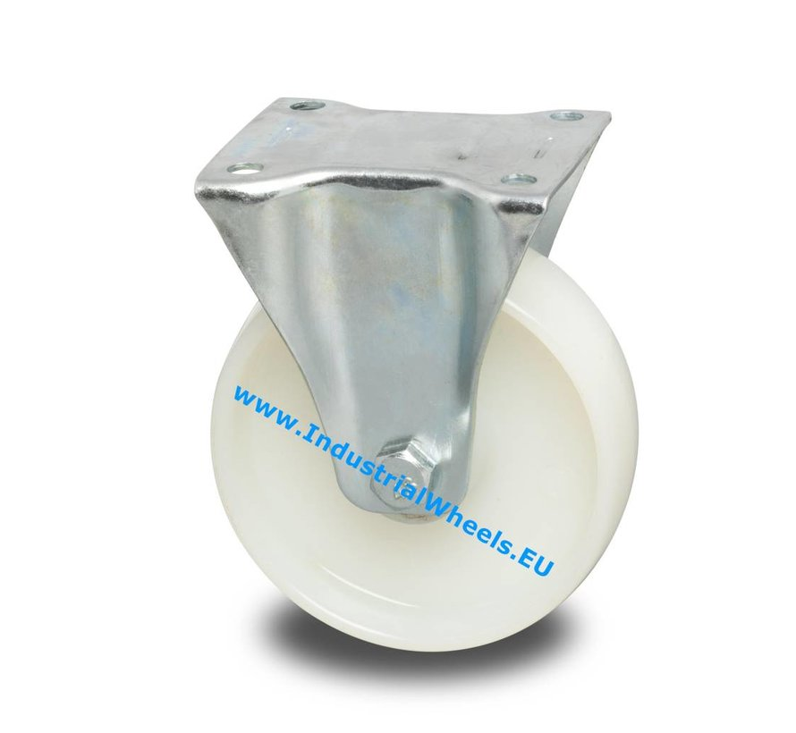 Industrial Fixed caster from pressed steel, plate fitting, Polyamide wheel, roller bearing, Wheel-Ø 125mm, 250KG